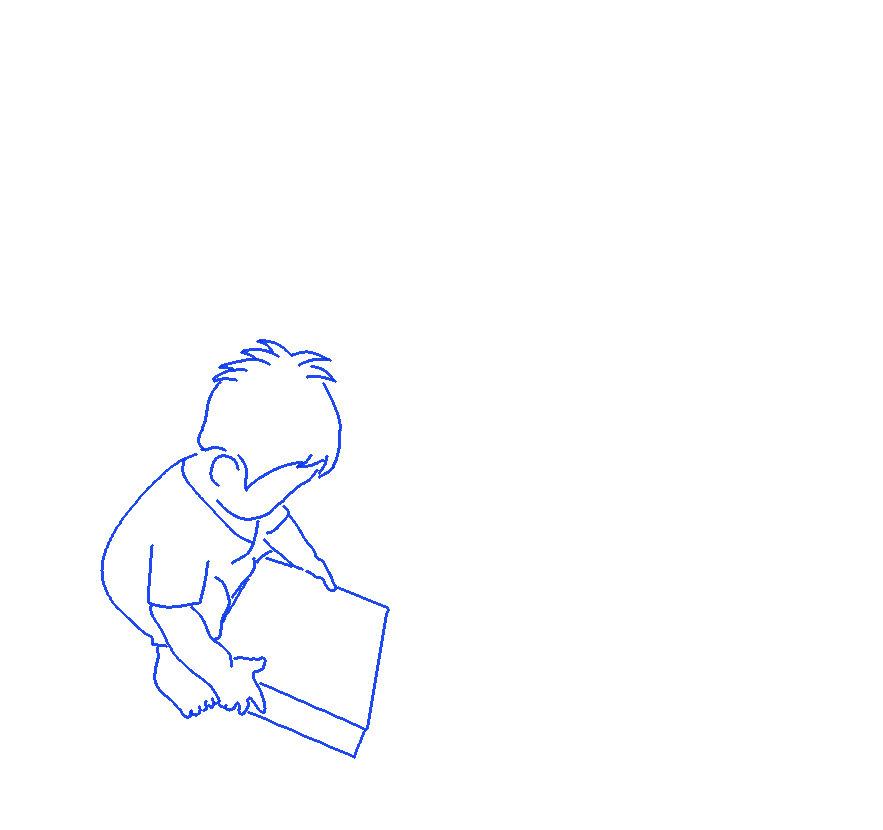 オモチャを持つ息子のシルエットイラスト