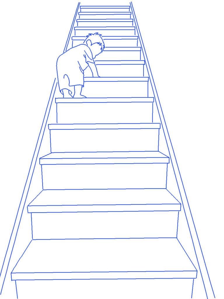 階段を上る子供シルエットイラスト
