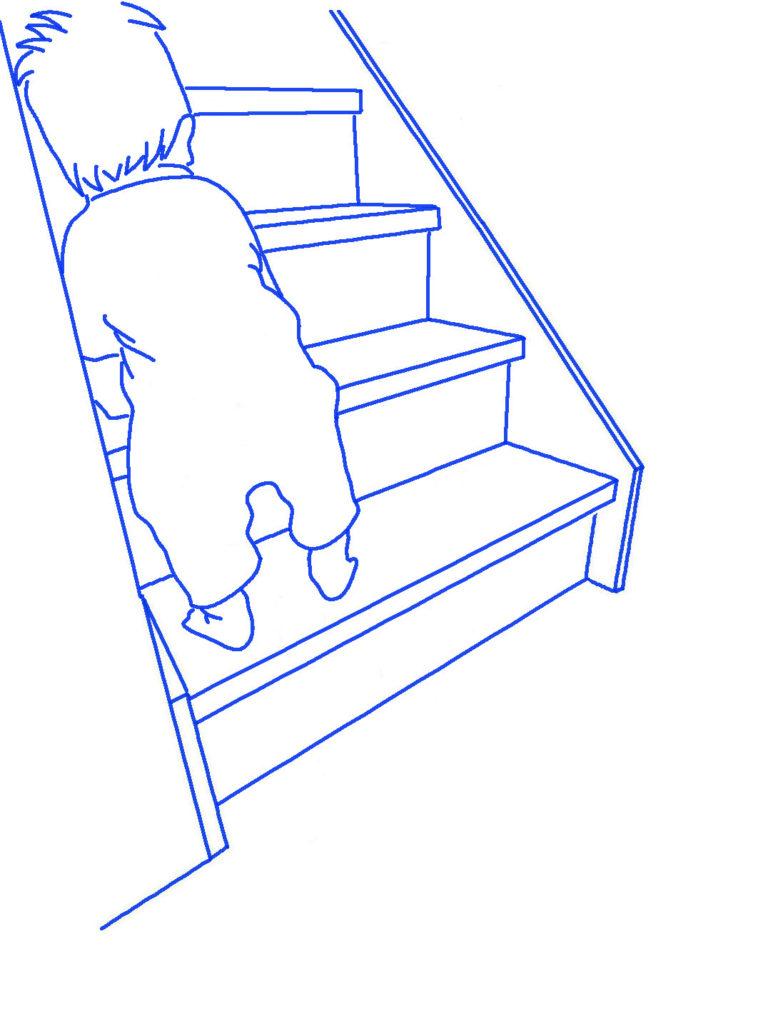 階段を上る子供シルエットイラス