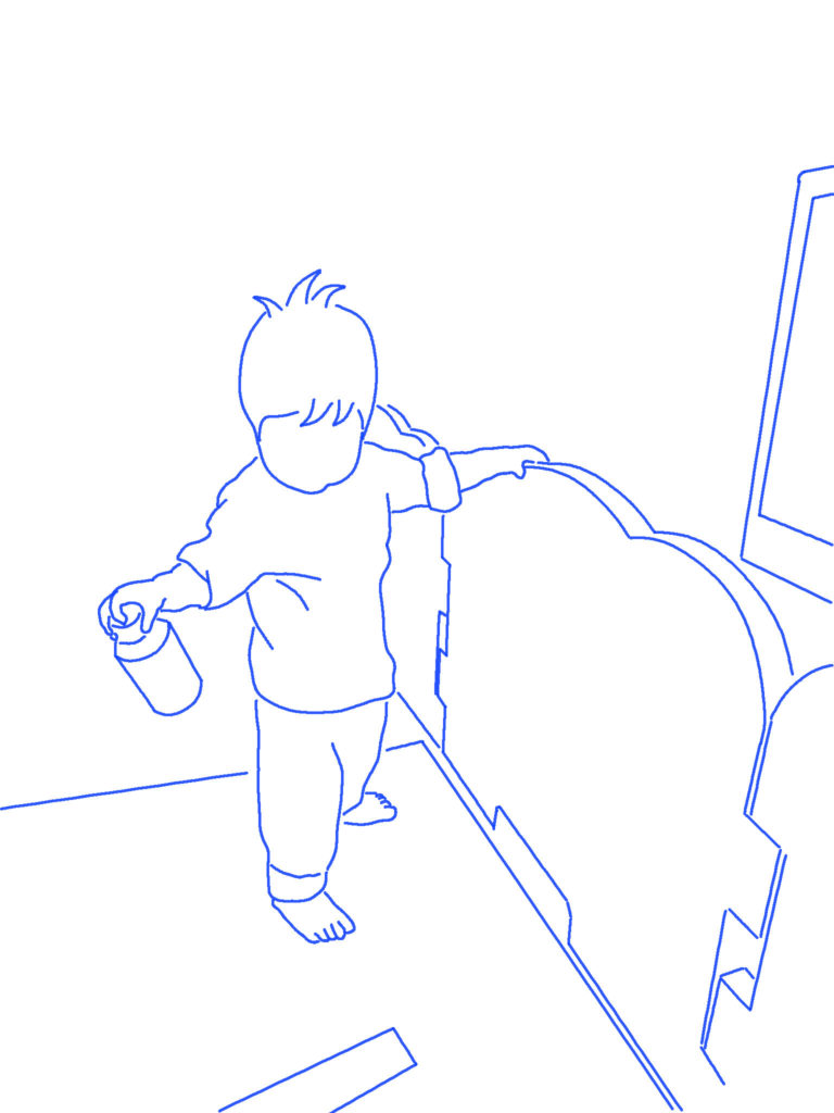 テレビを見る子供のシルエットイラスト