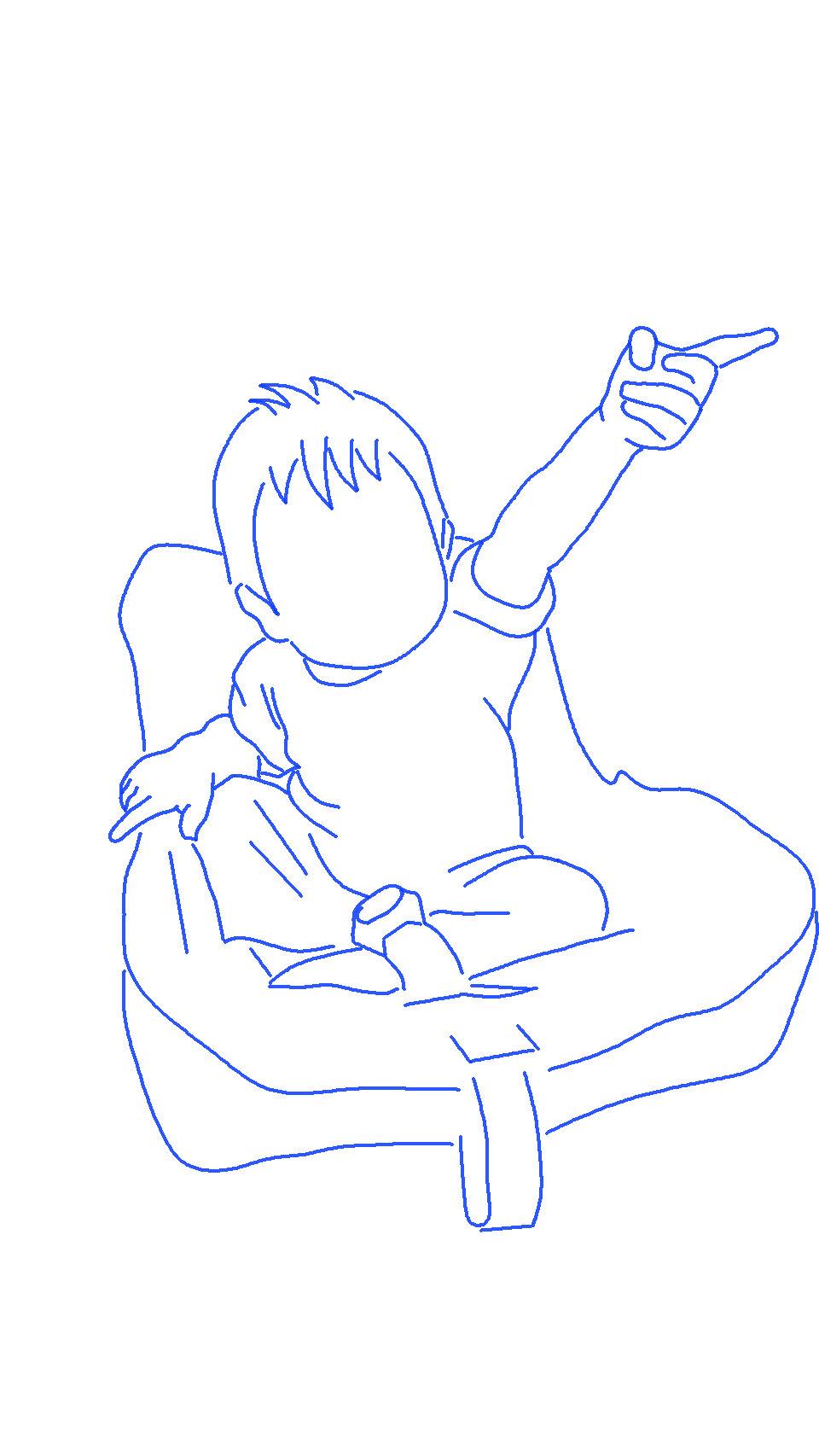 チャイルドシートに乗って指差しをする子供のシルエットイラスト