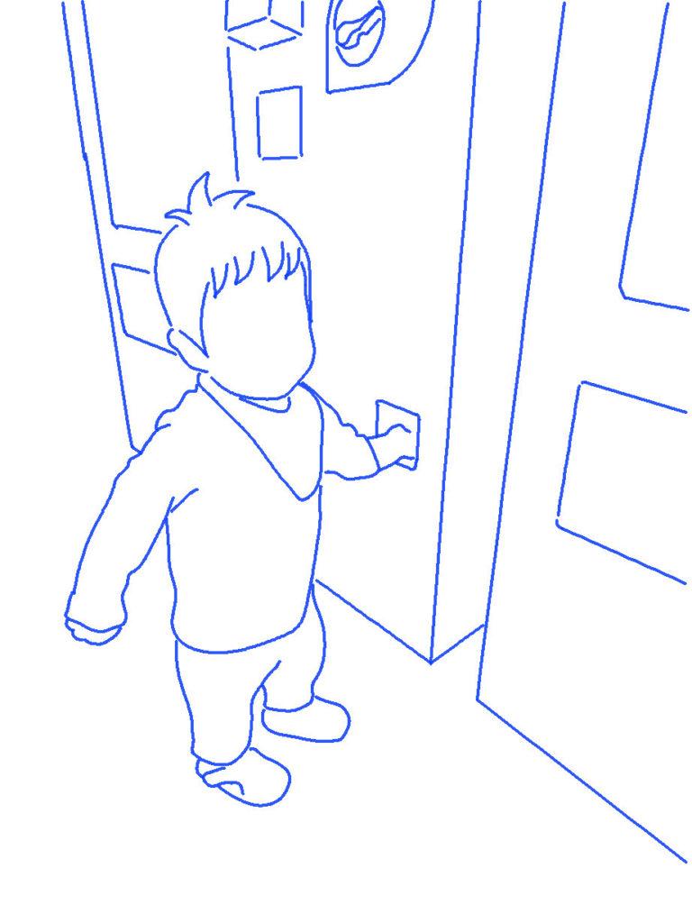 自動販売機に手を入れる子供のシルエットイラスト
