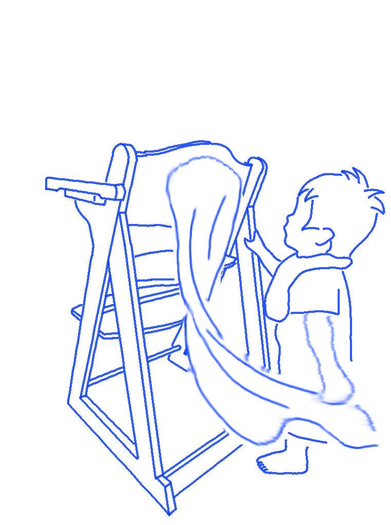 タオルをつかむ子供のシルエットイラスト