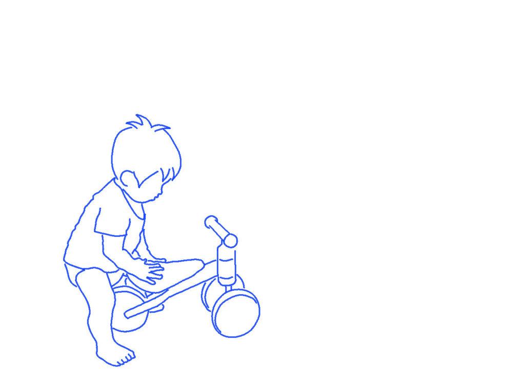 ディーバイクミニと子供のシルエットイラスト