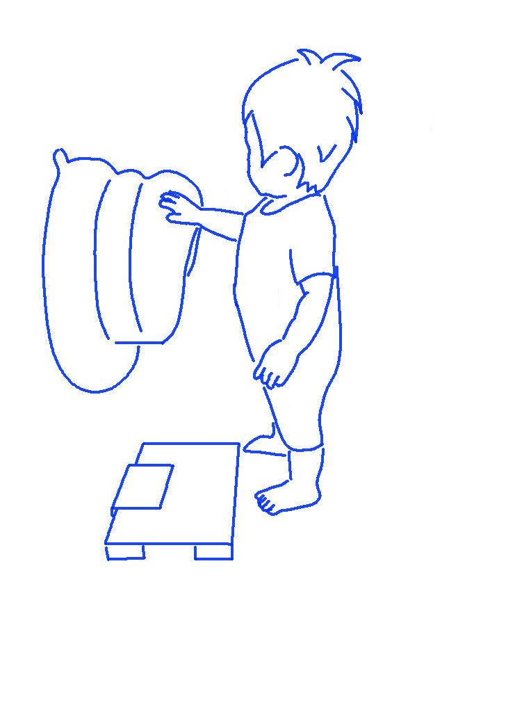 体重測定をする子供シルエットイラスト