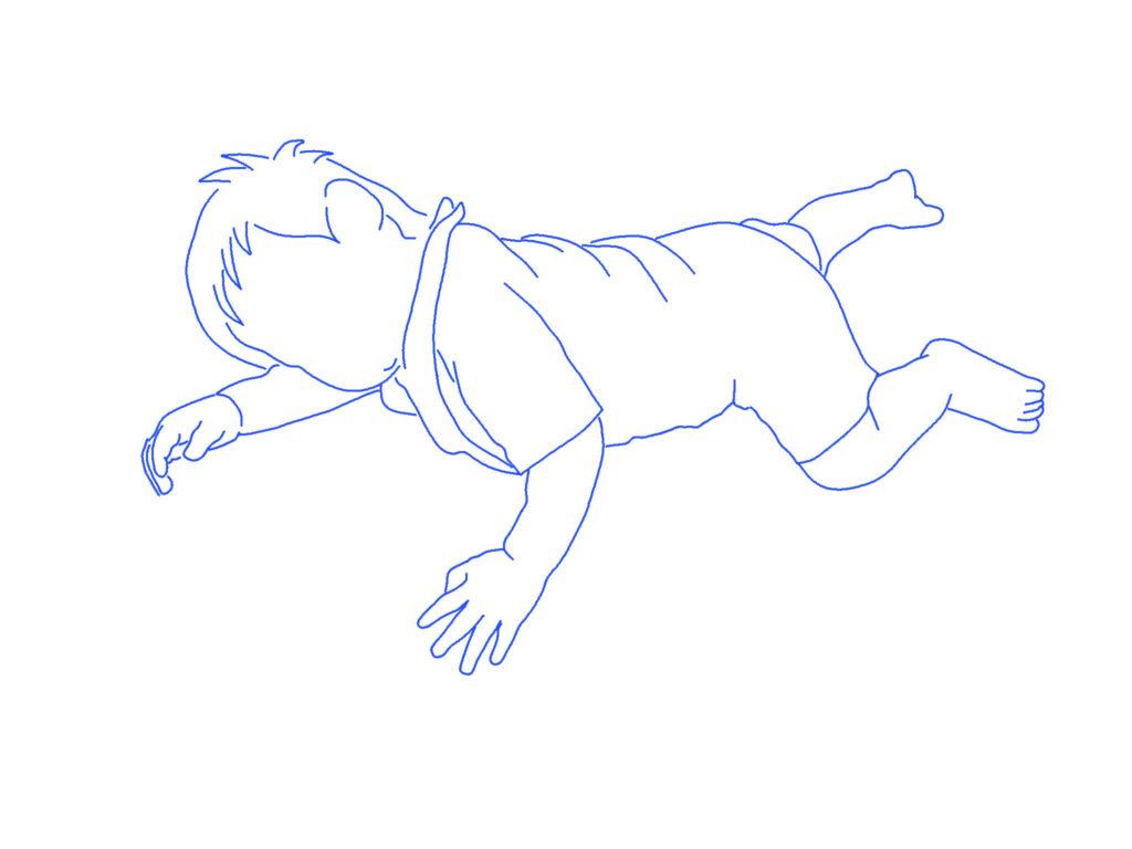 子供の寝相のシルエットイラスト