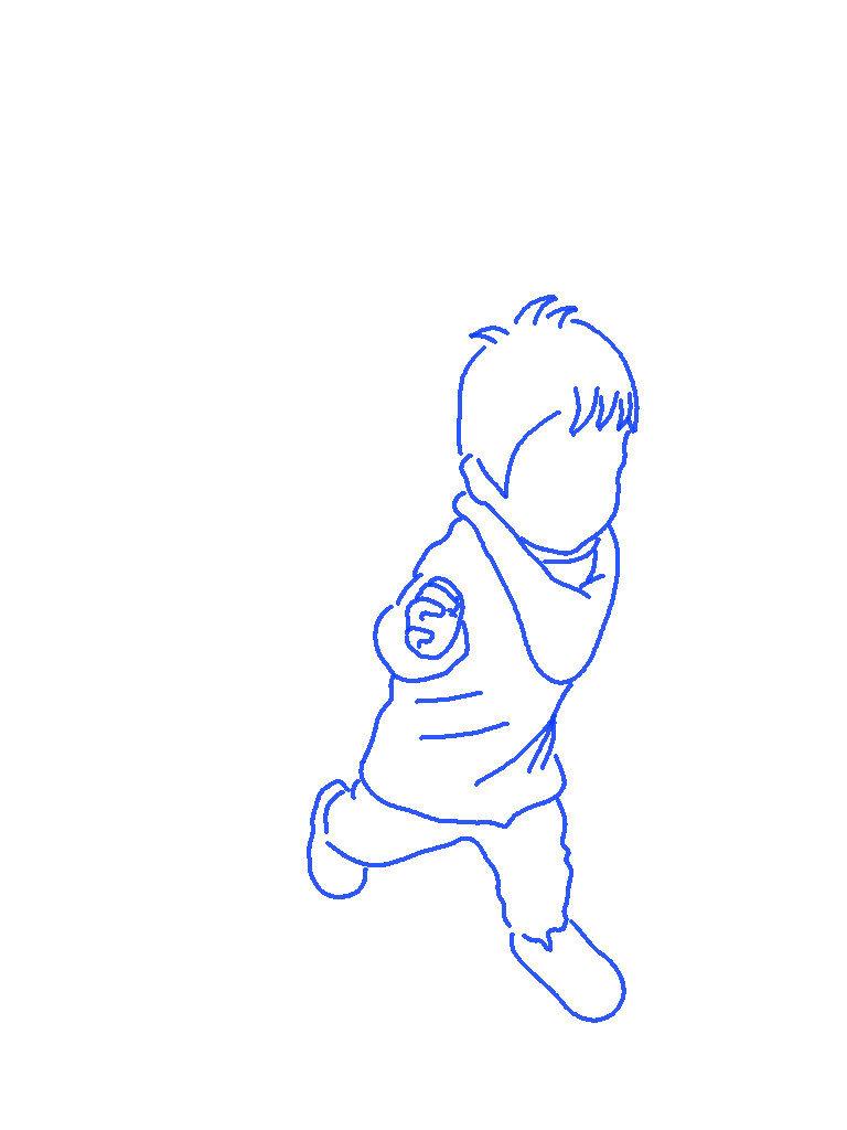 走る子供のシルエットイラスト