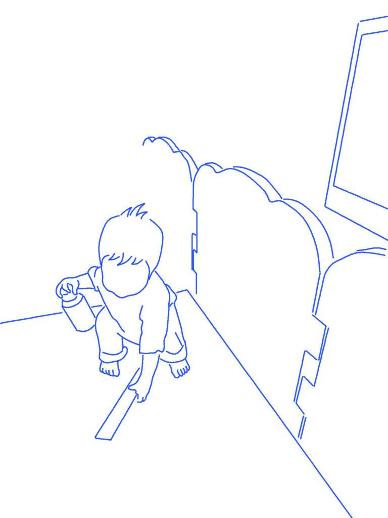 リモコンをとる子供のシルエットイラスト