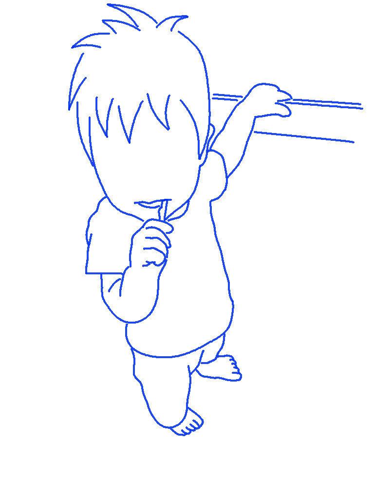 歯磨きをする子供のシルエットイラスト