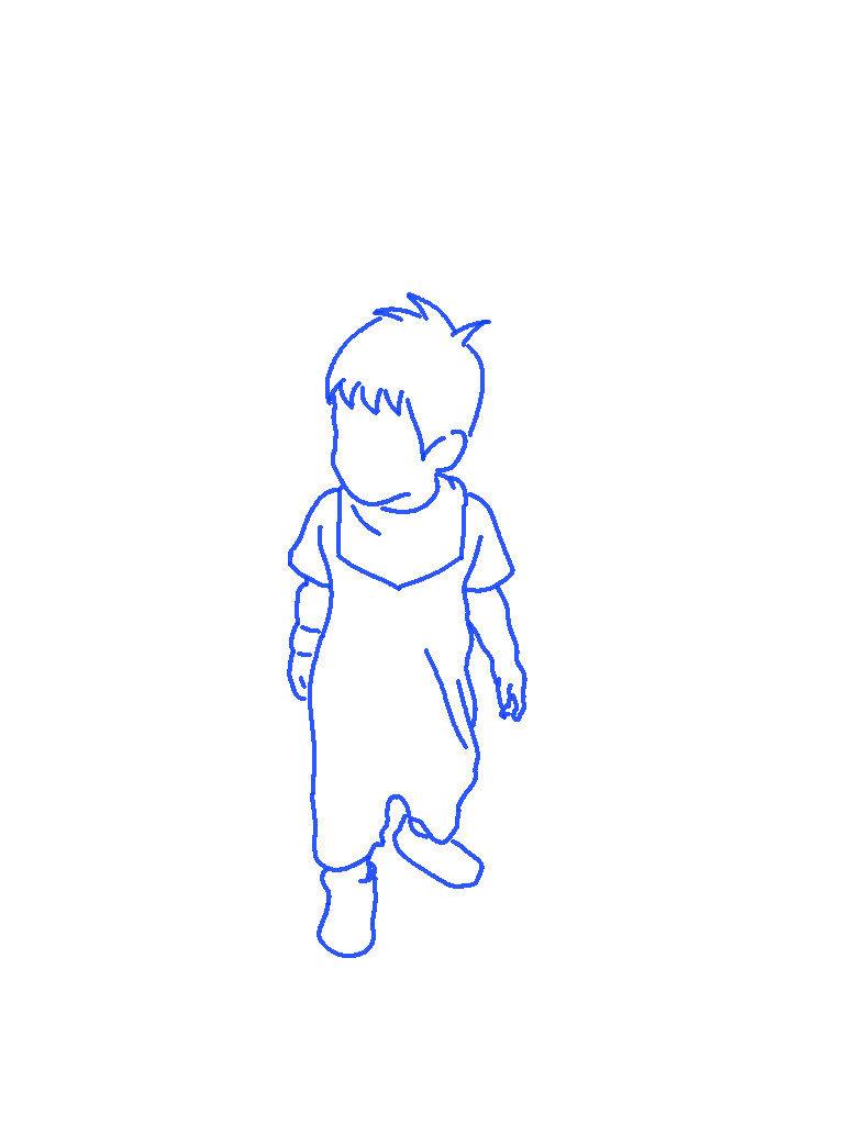 モデル立ちの子供のシルエットイラスト