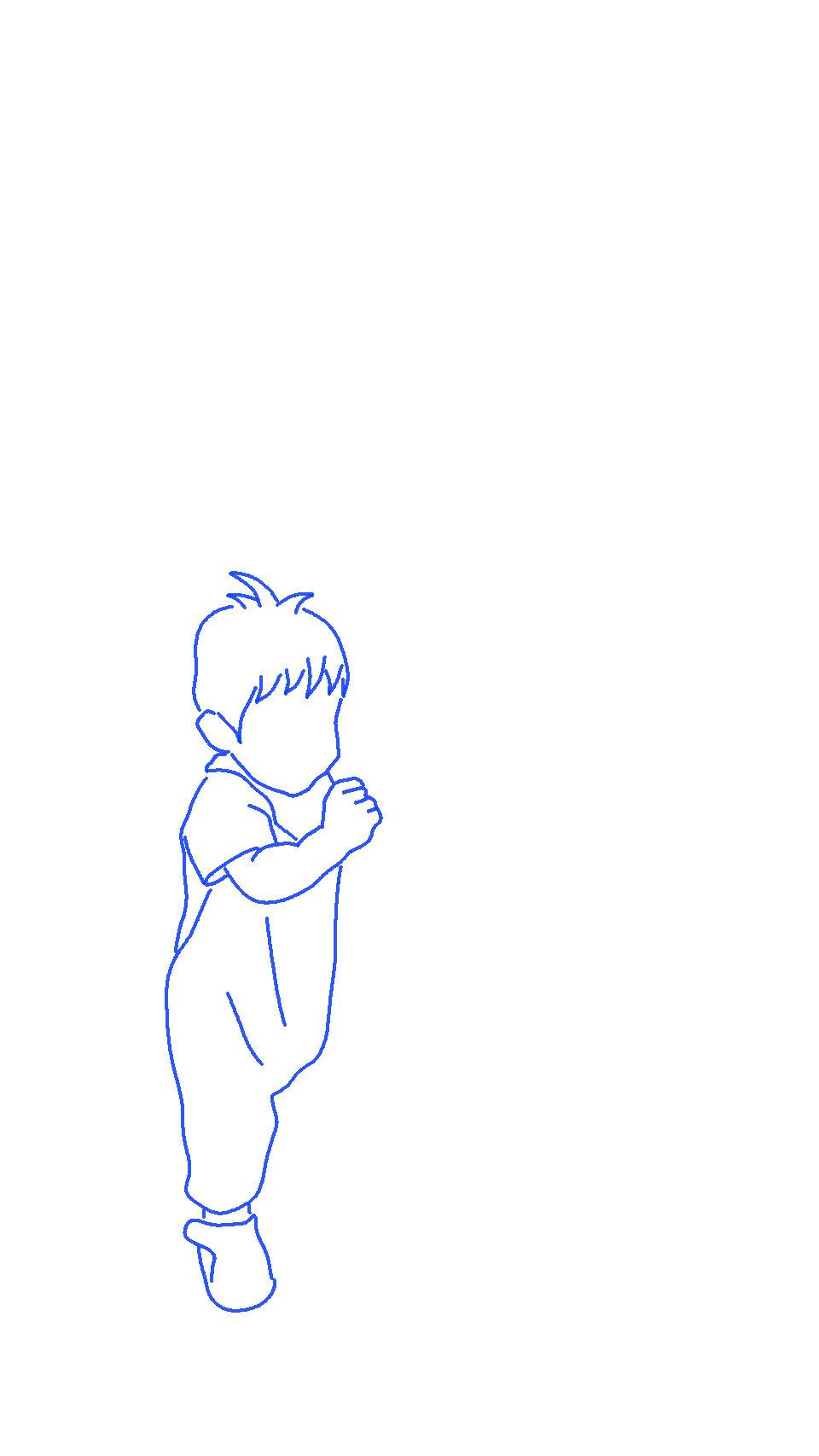 「行くぞ~」子供のシルエットイラスト
