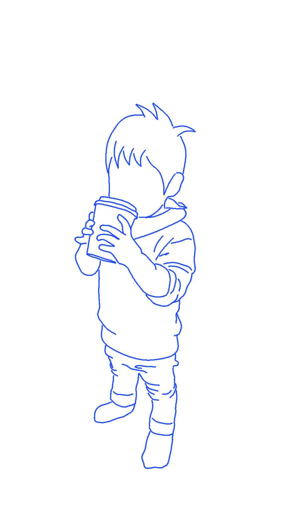 紙コップと子供のシルエットイラスト