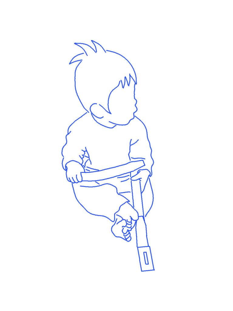 ベルトを腰に巻く子供のシルエットイラスト