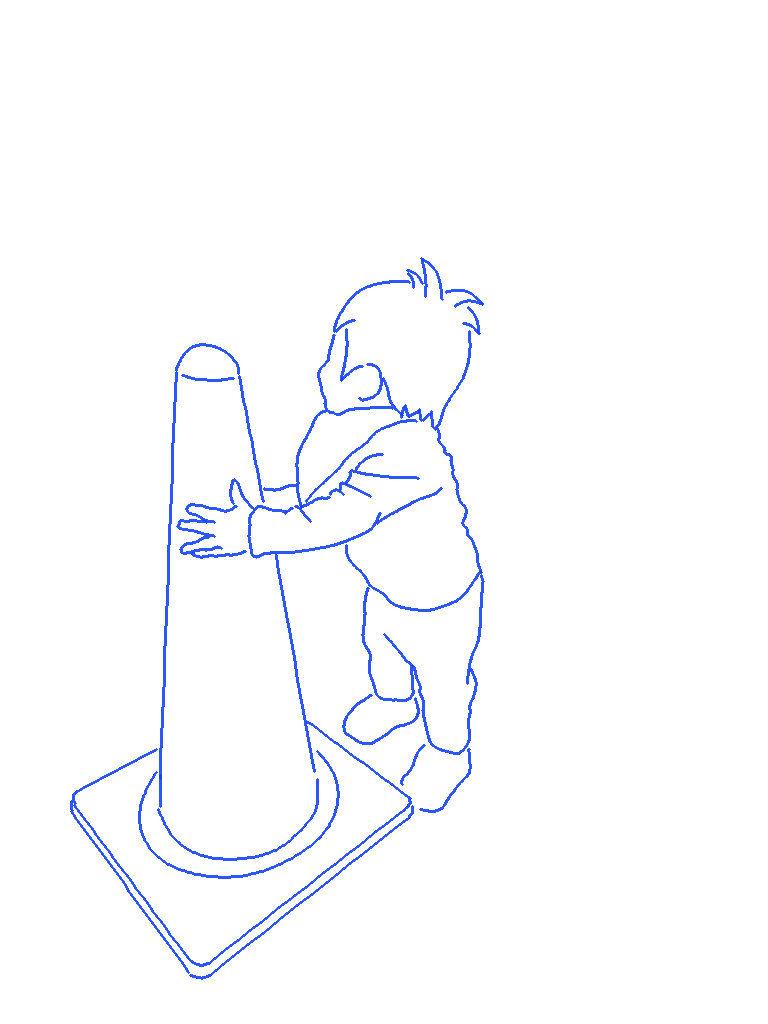 三角コーンと子供のシルエットイラスト