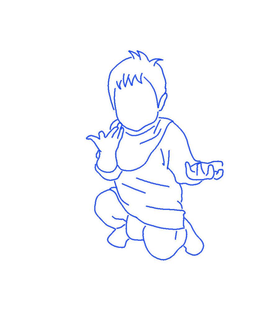 「イエ~」子供のシルエットイラスト